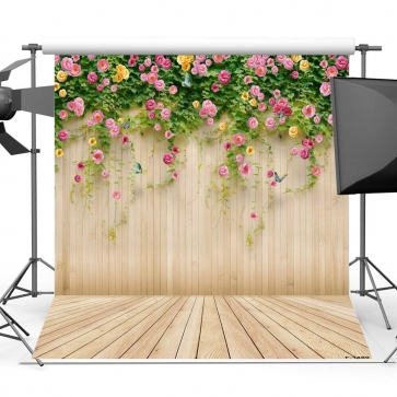 Vinyl Wooden Photo Background For Photography Flowers Backdrop