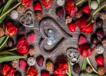 IOVE Heart Theme Valentines Day Backdrop Wedding Photography Background