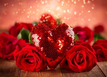 Red Glitter Sequins IOVE Heart Rose Theme Valentines Day Backdrop Wedding Photography Background