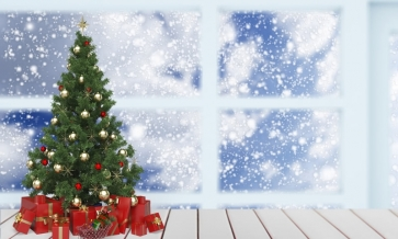 Outside Glass Window Snowflake Flying Christmas Tree Backdrop Party Stage Photography Background