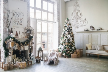 Glass Window Fireplace Christmas Tree Backdrop Party Stage Photography Background
