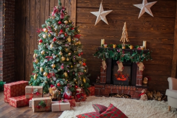 Wood Wall Fireplace Christmas Tree Backdrop Party Stage Photography Background