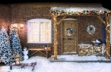 Snow Cover Brick House Christmas Party Backdrop Photo Booth Stage Photography Background