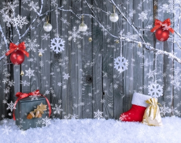Snowflake Flying Wood Wall Christmas Backdrop Party Stage Photography Background