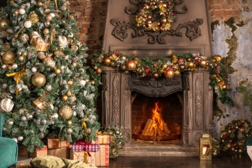 Retro Fireplace Backdrop Christmas Party Stage Photography Background