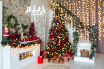 Blurred Christmas Tree Backdrop Party Stage Photography Background 10ft x10ft 10ft x20ft