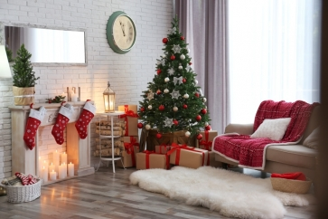 Living Room Fireplace Christmas Tree Backdrop Party Stage Photography Background