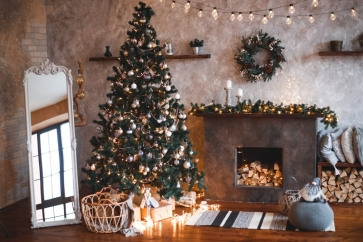 Fireplace Christmas Tree Backdrop Party Stage Photography Background