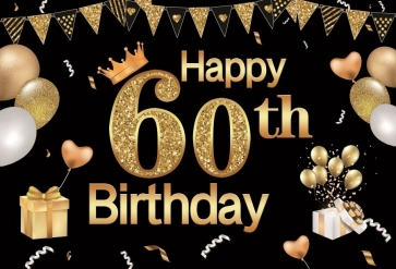 Glitter Balloon Banner Happy 60th Birthday Backdrop Party Photography Background