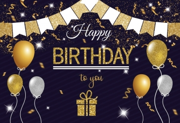 Glitter Gift Box Balloon Banner Happy Birthday Backdrop Party Photography Background
