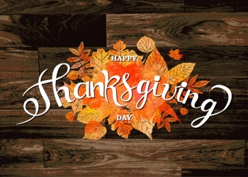 Autumn Leaves Wood Board Background Happly Thanksgiving Backdrop