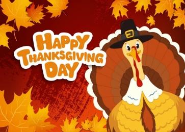Happly Thanksgiving Backdrop Turkey Autumn Leaves Background