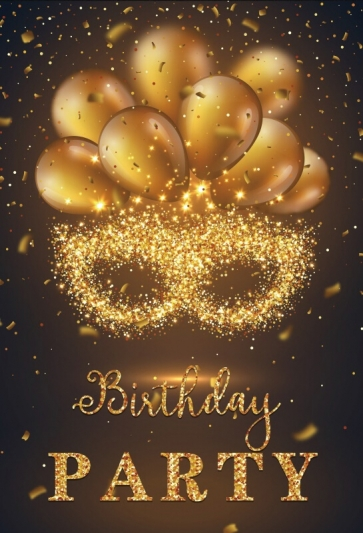 Gold Sparkle Glitter Happy Birthday Backdrop Party Photography Background Decorations Props
