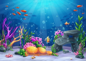 Various Tropical Fish Under The Sea Mermaid Backdrop Children Happy Birthday Party Background