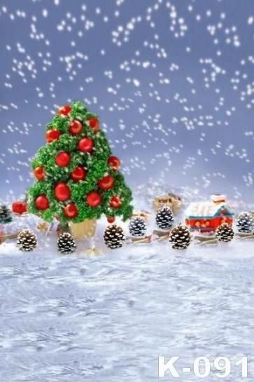 Mini Christmas Tree Pine Nuts Snowflake Background  Photography Photo Backdrops