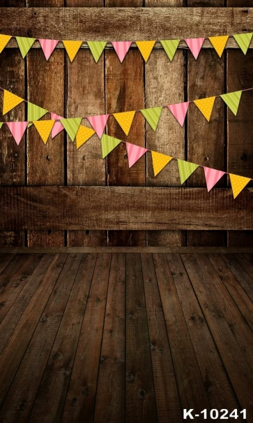 Wooden Floor Small Flags Combination Vinyl Attractive Stage Backdrop