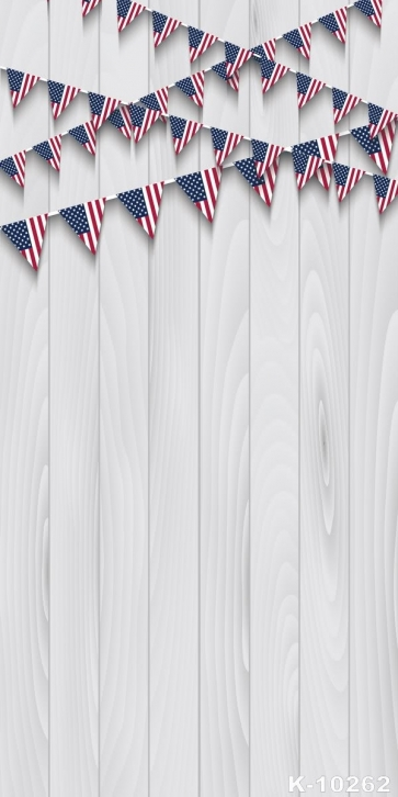 US Small Flags Wooden Floor Combination Vinyl Party Backdrop