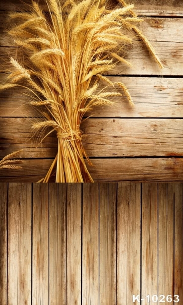 Golden Barley Wooden Floor Wall Combination Vinyl Picture Backdrop