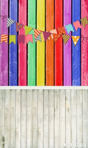 Rainbow Colored Wooden Wall Small Flag Combination Vinyl Prom Party Backdrop