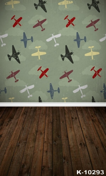 Full Of Childlike Aircraft Background Walls Vinyl Wood Backdrop