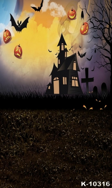 New Pumpkin Theme Dark Cemetery Halloween Backdrops
