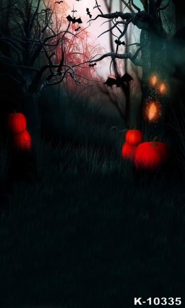 Black Forest Bat Pumpkin Vinyl Halloween Backdrops Studio Photography Background