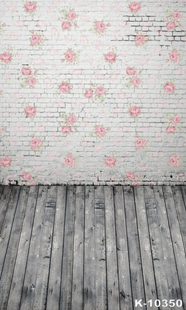 Rose Flower Brick Wall Wooden Floor Combination Vinyl Stage Backdrop