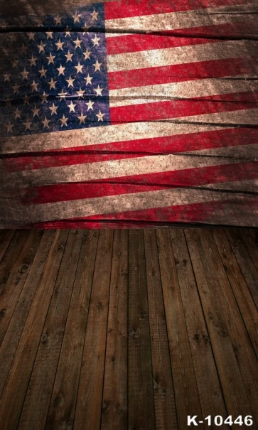 American Flag Wooden Floor Combination Studio Backdrop