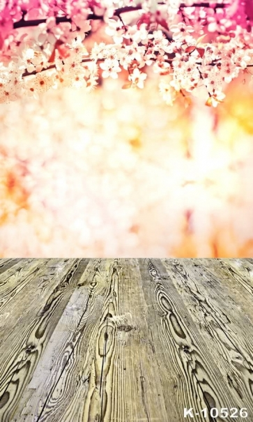 Scenic Flower Wall Background Wooden Floor Vinyl Portable Backdrop