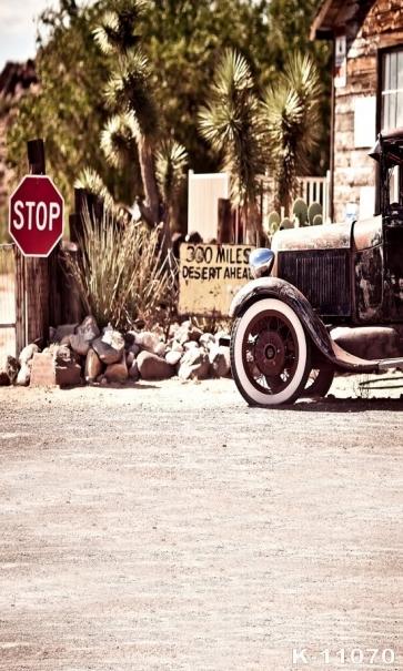 Retro Car STOP Sign Scenic Backdrops Vinyl Photo Backdrops