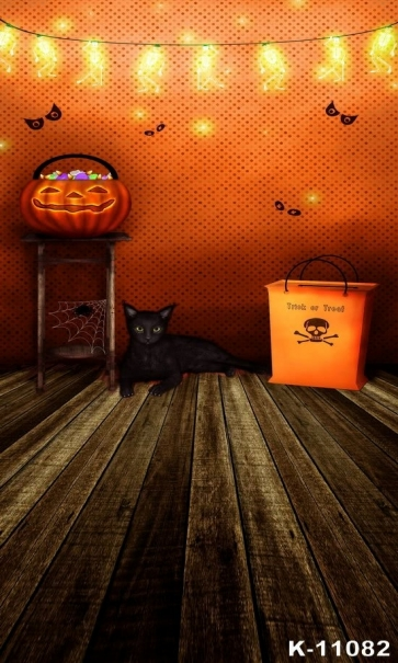 Various Modeling Neon Light  Black Cat Wooden Floor Pumpkin Halloween Vinyl Backdrops