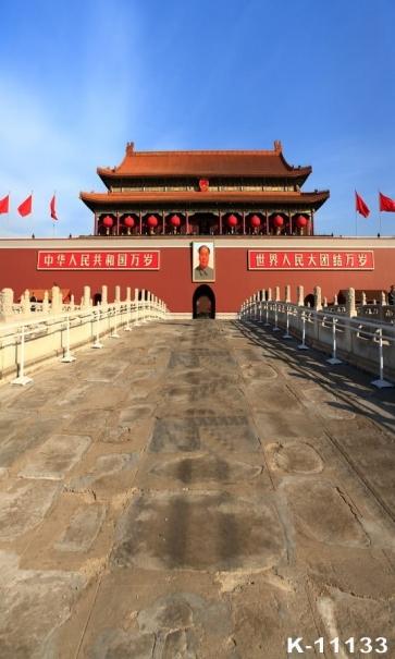 Chinese Capital Beijing Tian An Men Jinshui Bridge Building Vinyl Photo Backdrops