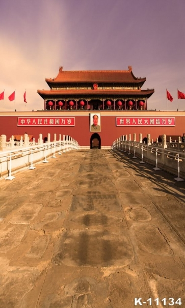 Sundowners Beijing Tian An Men Jinshui Bridge Building Vinyl Photo Backdrops