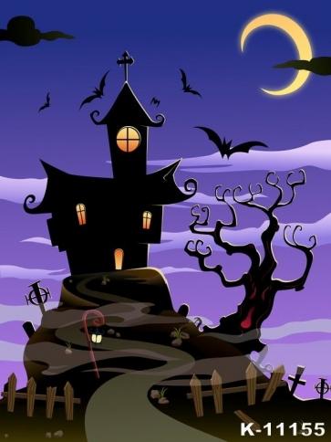 Halloween Castle Bat Bent Moon Sky Magic Vinyl Photography Backdrops