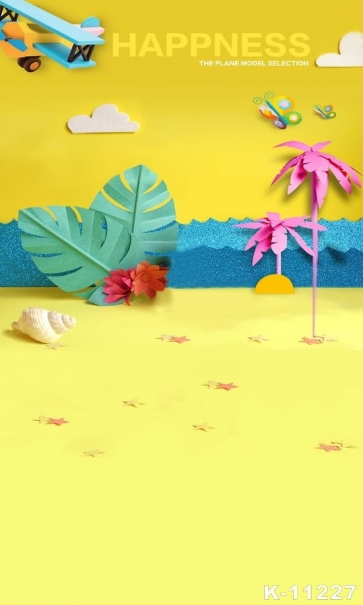 Cartoon Sandy Beach Coconut Tree Yellow Vinyl Photography Backdrops