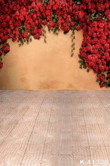Outdoor Red Flowers Wedding Best Backdrop for Portraits