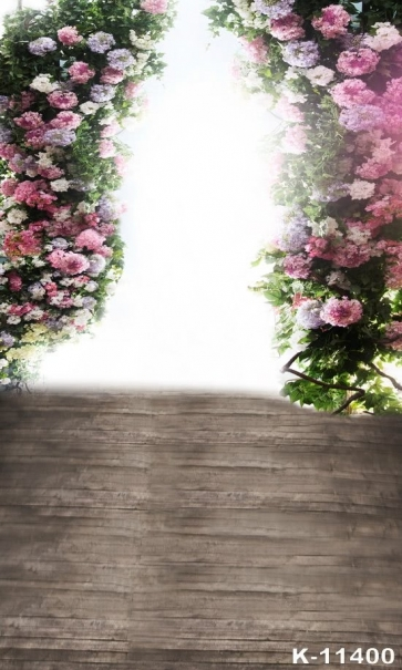 Flowers Garland Wood Floor Photo Prop Best Photography Backdrops