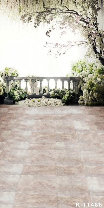 White Flowers in Courtyard Wedding Backdrop Background for Photography