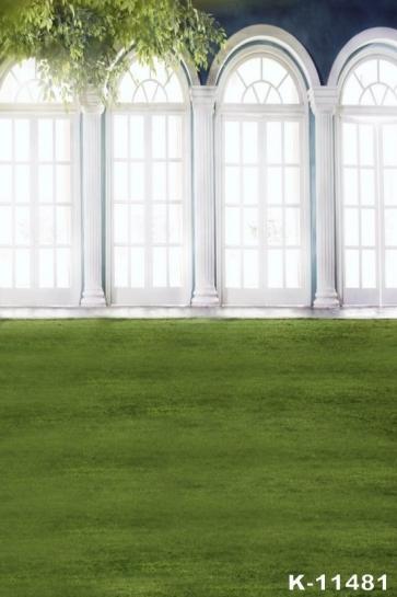 Green Grassland White Windows Photography Background Props