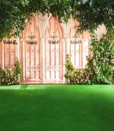 European Architecture Green Grass Flowers Wedding Background Photo Backdrops