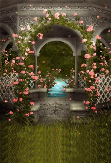 Retro Gazebo Flower Dream Romance Wedding Backdrop Studio Photography Background Prop