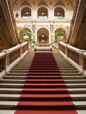 Retro Roman Architecture Staircase Red Carpet Wedding Backdrop Studio Photography Background Prop