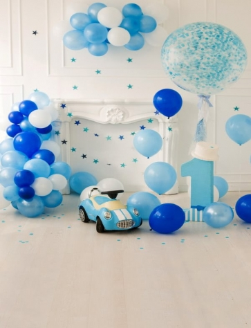 Baby Boy One Year Old 1st Happy Birthday Party Backdrop With Balloon Photography Background Prop