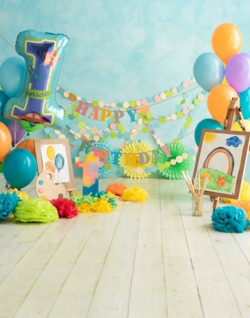 Baby Girl Boy 1st Happy Birthday Party Banner Backdrop With Balloon Photography Background