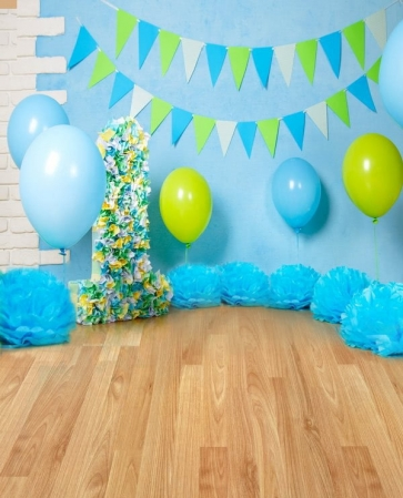Baby Boy First 1 Year Old Happy 1st Birthday Wood Backdrop With Balloon Decoration Prop Photography Background