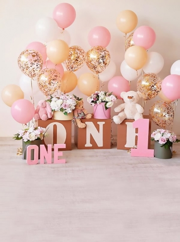 Baby First One Year Old 1st Happy Birthday Party Backdrop With Balloon Photography Background Prop