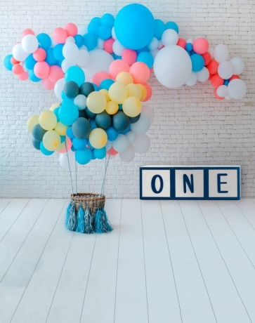 Baby One Year Old 1st Happy Birthday Party Backdrop With Balloon Studio Portrait Photography Background Prop