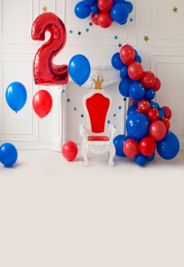 Baby 2nd Birthday Backdrop With Balloon Photography Background Prop