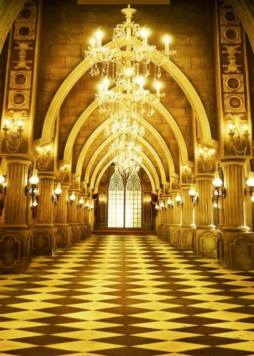 Interior Luxury Golden Palace Wedding Bridal Shower Backdrop Studio Photography Background Prop