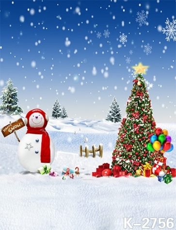 Christmas Tree Snowman Balloon Photo Background Christmas Photography Backdrops